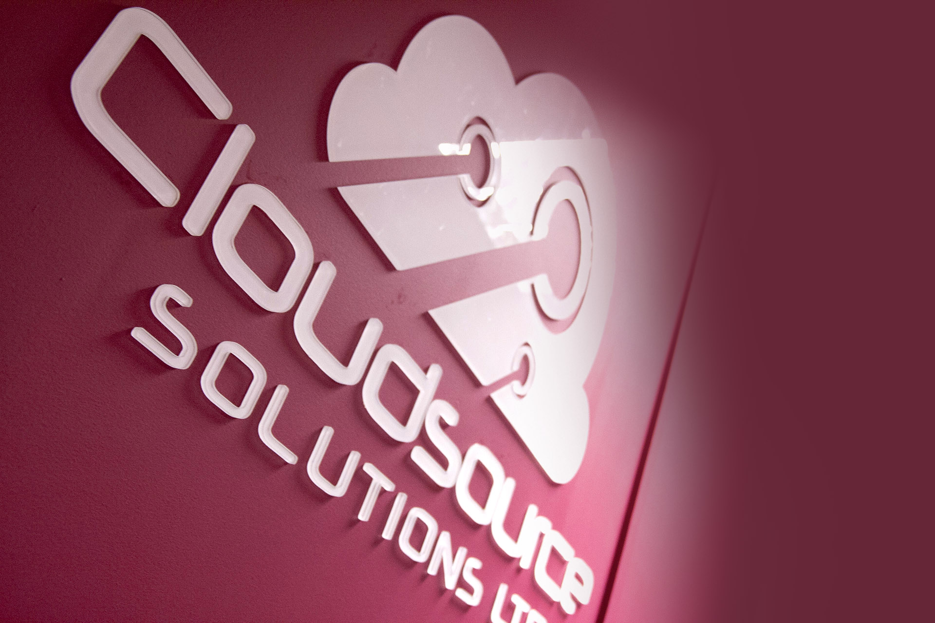 Cloudsource wall sign